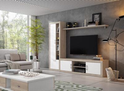 Mueble de salón con modulo bajo de 2 puertas y estantería con tiradores