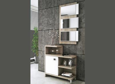 Mueble de entrada recibidor de estilo moderno con estanterías y una puerta + espejo de diseño