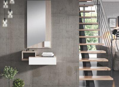 Mueble de entrada recibidor pequeño en color roble y blanco + espejo perpendicular
