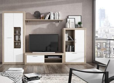Mueble librería de salón en color blanco y cambrian de diseño moderno