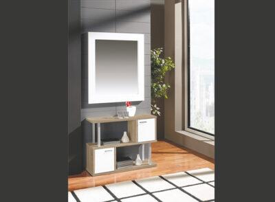 Mueble recibidor con dos puertas en color mozart de estilo moderno + espejo
