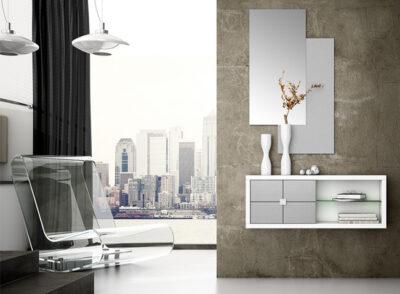 Mueble recibidor estrecho en blanco y plata con estanterías y 2 espejos verticales