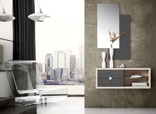mueble-recibidor-estrecho-blanco-y-plata-estanterias-2-espejos-verticales