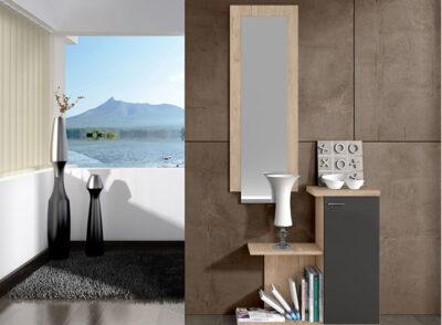 Mueble recibidor moderno de color blanco con puerta grande y espejo vertical