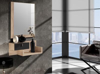 Mueble recibidor pequeño de color roble con un cajón y espejo