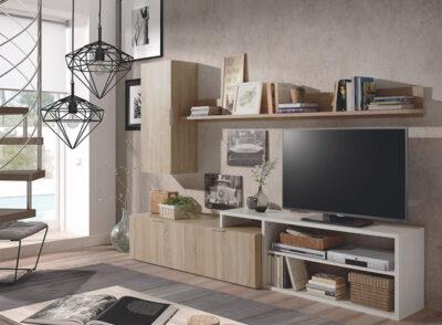 Mueble de salón diseño moderno con aparador en color cambrian combinado con fresno