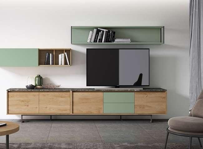 Mueble De Salón En Madera Y Verde De Estilo Moderno Con Modulos Sin Tiradores