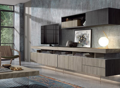 Mueble de salón de madera nogal con módulo bajo con 3 puertas y alto con puerta abatiente