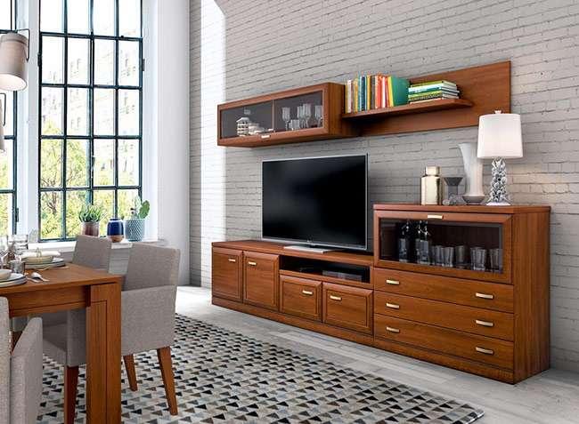 Muebles De Salón De Madera Con Modulo Bajo Con Cristal Y Cajones