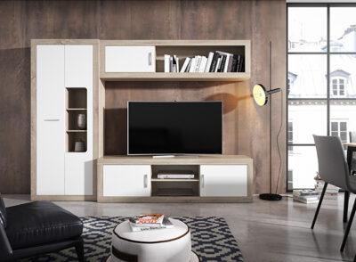Muebles de salón diseñados en blanco y color cambrian con armario lateral con huecos