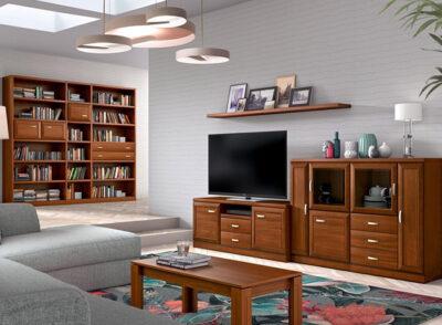 Muebles salón de madera de estilo clásico con módulos bajo y alto con tiradores