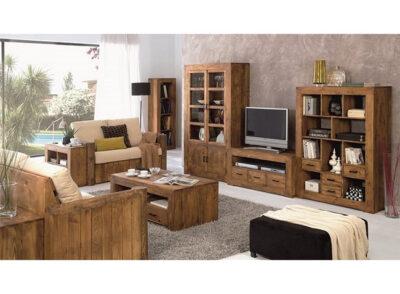 Muebles salón rústico de madera con mesa TV, librería y vitrina de cristal