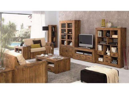 muebles-salon-rustico-madera-mesa-tv-libreria-vitrina