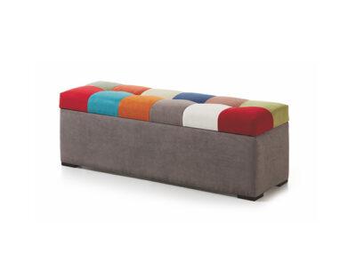 Puff con arcón tapizado en patchwork