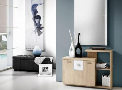Recibidor con aparador en blanco roto y plata con dos alturas y 2 puertas