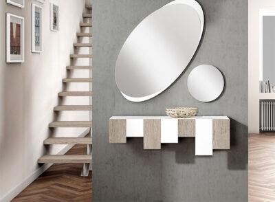 Recibidor de diseño moderno en color blanco con 2 espejos (ovalado y circular)
