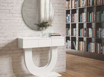 Recibidor moderno en blanco con 3 cajones y espejo redondo