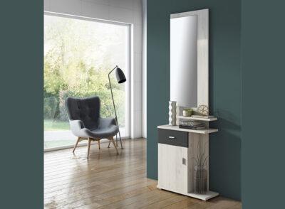 Recibidor pequeño con cajón y puerta de estilo moderno en color mozart
