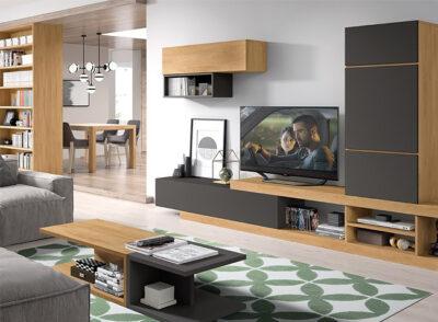 Salón en negro y madera con mueble bajo para TV, vitrina y modulo colgado
