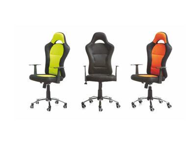 Silla alta de oficina de varios colores tapizada en tejido 3D