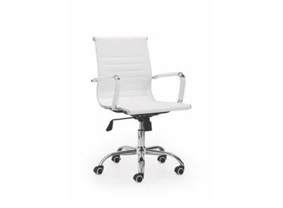 Silla blanca para escritorio tapizada en polipiel
