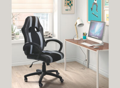 Silla ergonómica de oficina tapizada en polipiel con varios colores