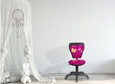 Silla de escritorio infantil rosa fucsia con estampado mariposa