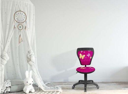 silla-escritorio-infantil-rosa-fucsia-estampado-mariposa