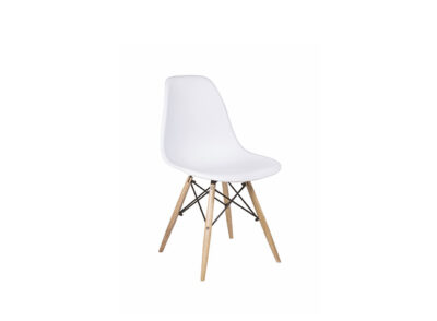 Silla de estilo nórdico de madera natural con asiento ABS en color blanco