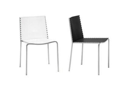 Silla metálica moderna con asiento tapizado en polipiel