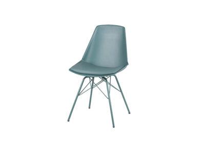 Silla moderna con patas metálicas a juego y asiento de polipropileno