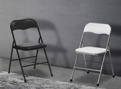 Silla plegable barata en blanco o negro