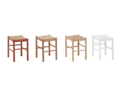 Silla taburete de madera blanca con asiento de enea (disponible en varios colores)