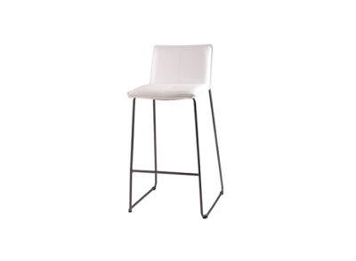 Silla taburete tapizado en polipiel alto de diseño ligero con estructura de acero