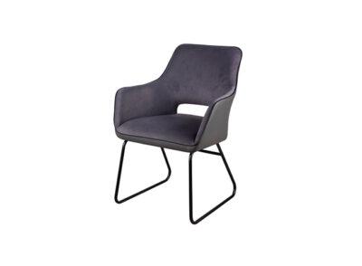 Silla tipo sillón tapizada en tela suave y polipiel con estructura de acero