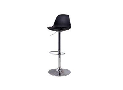 Taburete elevable cromado con soporte para pies y asiento acolchado