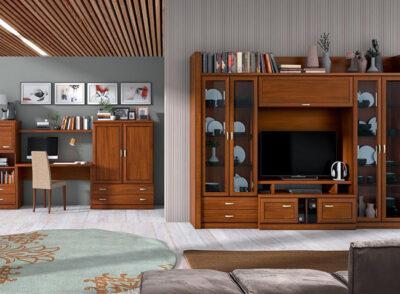 Vitrinas de saloón laterales con doble puerta y cajones de madera