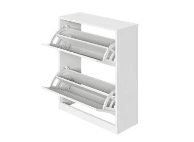 Zapatero en color blanco bajo con 2 puertas con tiradores