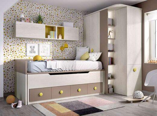 Decoracion-juvenil-gris-beige-cama-nido-armario-rincon
