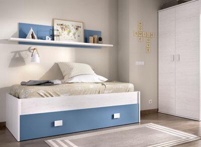 Cama compacta en gris y azul con cajón de almacenaje y estantería incluida