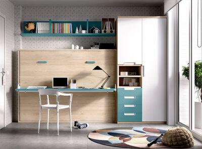 Habitación juvenil completa con cama abatible de matrimonio, zona de estudio y armario