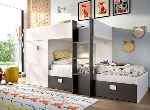 Litera-dos-camas-gris-grafito-armario-y-cajones