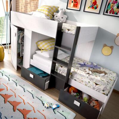 Litera juvenil de dos camas con armario lateral y dos cajones de almacenaje gris