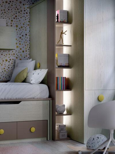 Decoración juvenil completa con dos camas, armario de rincón multifuncional y almacenaje
