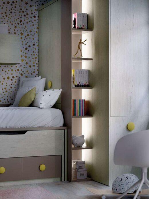 cuarto-juvenil-decoracion-gris-beige-dos-camas-armario