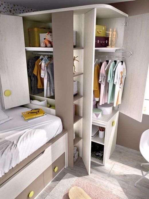 decoracion-juvenil-gris-beige-dos-camas-armario-cajones