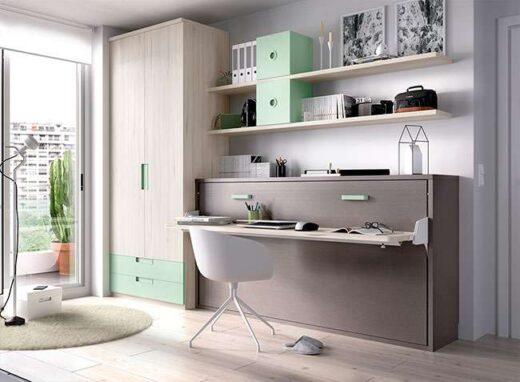 dormitorio-gris-y-verde-menta-con-cama-abatible-armario-y-zona-de-estudio