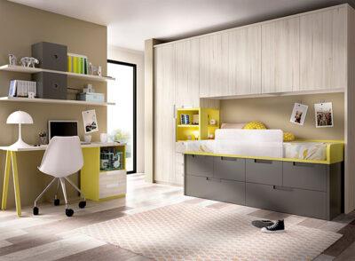Moderno dormitorio juvenil completo con armario, cama con altillo puente, cama nido y zona de estudio