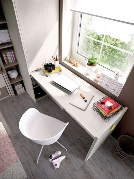 dormitorio-juvenil-gris-beige-cama-nido-armario-almacenaje