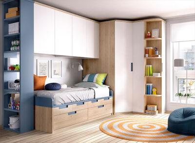 Habitación juvenil completa con armario de rincón, altillo puente, zapatero y zona de estudio